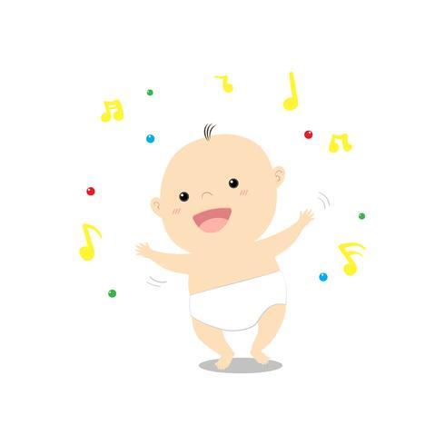 Söt tecknad baby som dansar lyckligt musik vektor