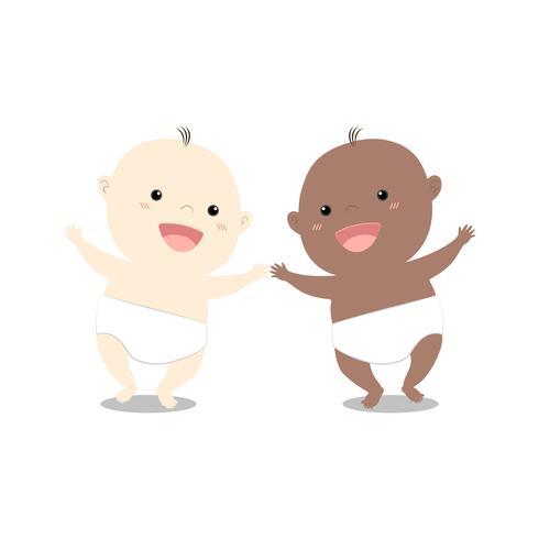 Nettes Baby der Karikatur zwei, das zusammen geht vektor