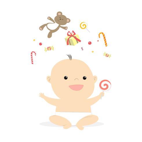 liten söt baby leende illustration vektor