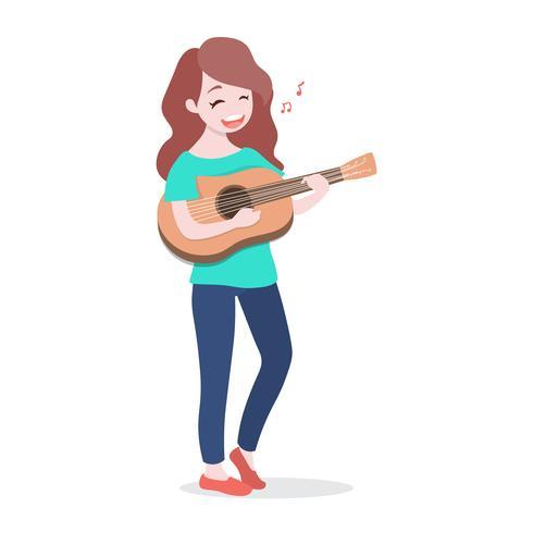Glückliches junges Mädchen, welches die Gitarre spielt und ein Lied, lokalisiert auf weißem Hintergrund singt vektor