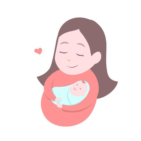 Mor som rymmer söta baby. Glad mors dag. vektor