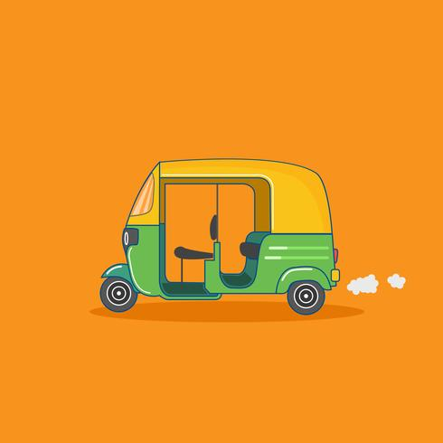 Gul och grön asiatisk Tuk-Tuk-taxi vektor