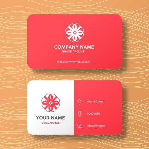Moderne elegante rote Visitenkarte mit einem kundenspezifischen Logo vektor