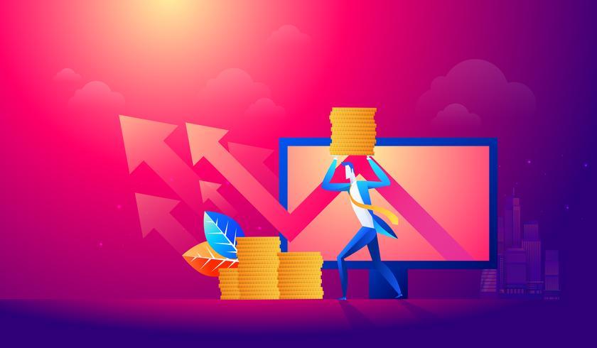 Geschäftsmanngriffgeld mit Pfeildiagramm vektor