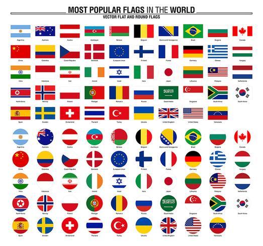 Sammlung von Flaggen, die beliebtesten Flaggen der Welt vektor