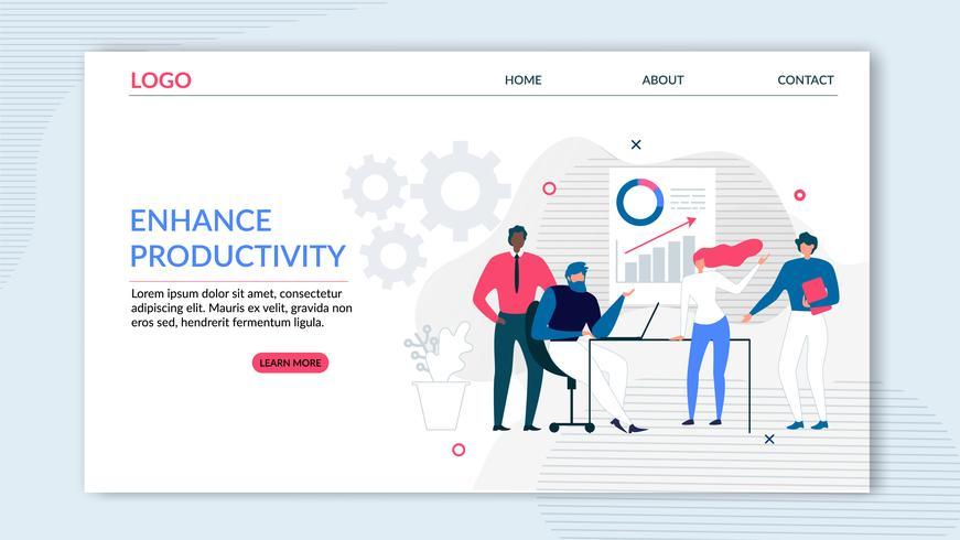 Flache Zielseite für mehr Produktivität vektor