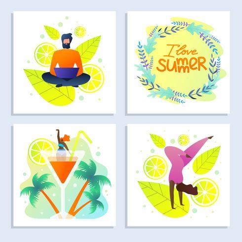Ljusa kort med inskriften I Love Summer vektor
