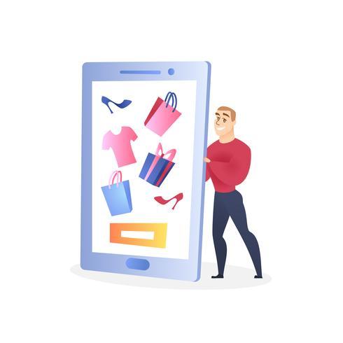 Affärsman karaktär som säljer kläder via Internet vektor