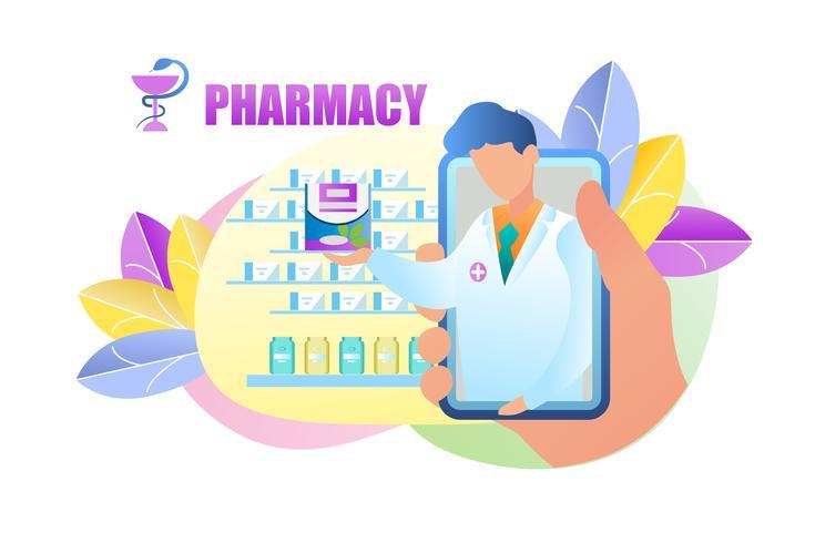 Online-Bestellung von Medikamenten Apotheke vektor