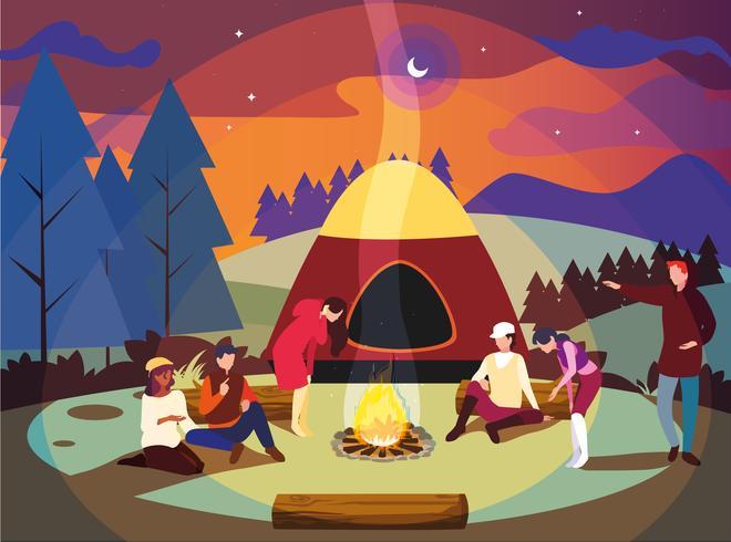 Camping mit Zelt und Lagerfeuernachtszene vektor