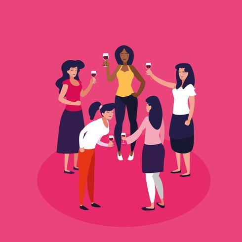 kvinnor i en cirkel firar party avatar karaktär vektor