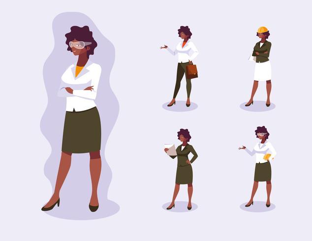 Avatarsuppsättning av professionell kvinnadesign vektor