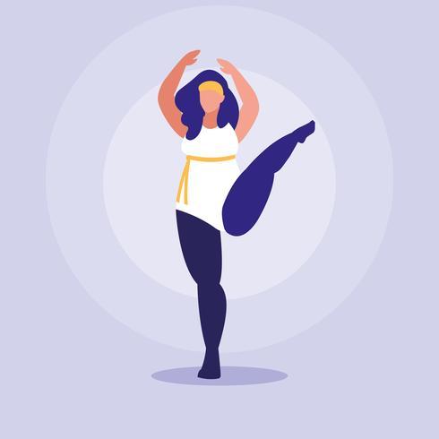 stor kvinna som utövar positiv kroppskraft vektor