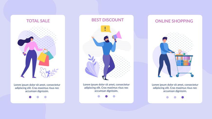 Mobilsidor Ange annonsering Total försäljningsrabatt vektor