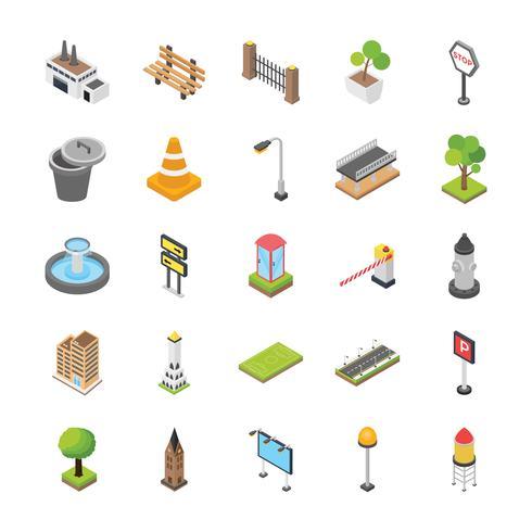 Stadtelemente Isometrische Icon Set vektor
