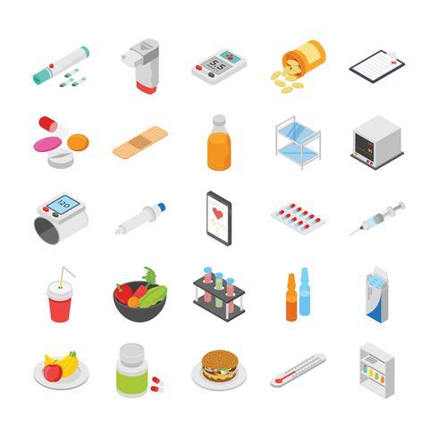 Diabetes-Kontrolle und andere medizinische Icons Set vektor