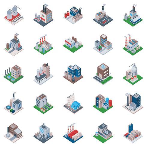 Industriella byggnader Isometriska ikoner vektor