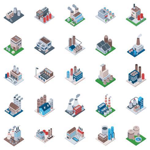 Fabriksbyggnader Isometriska ikoner vektor