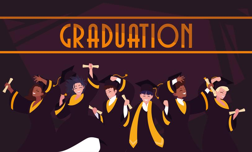Abschluss-Studenten im Feierdesign vektor