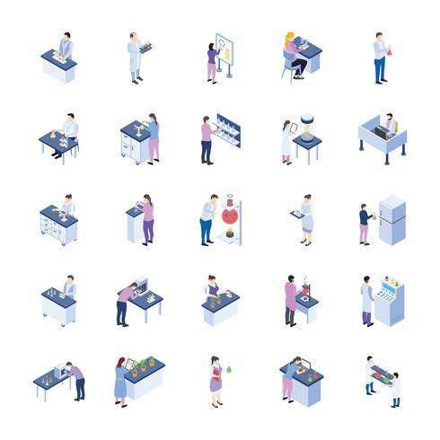 Wissenschaftliches Labor Isometrische Icons Pack vektor