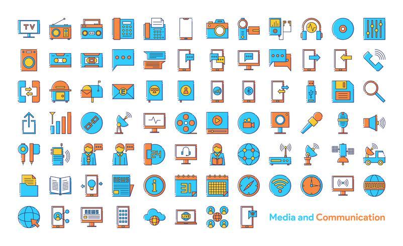 Medien und Kommunikation Icon Set vektor