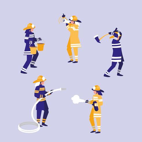 Gruppe Feuerwehrmanncharaktere vektor
