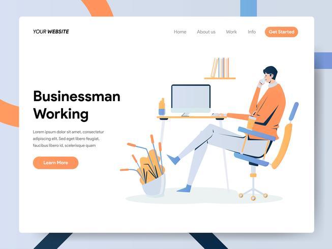 Landingpage Vorlage von Businessman Working on Desk vektor