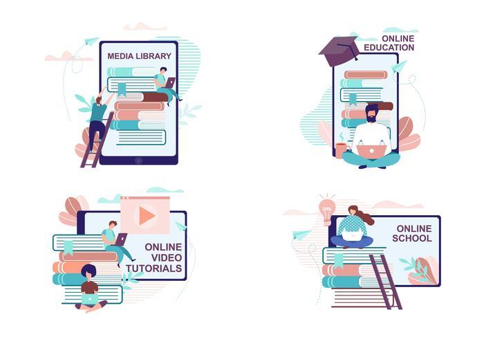 Annonsuppsättning för fjärrutbildning och utbildning vektor