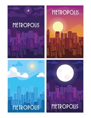 uppsättning av metropol stadsbilden byggnader scener vektor