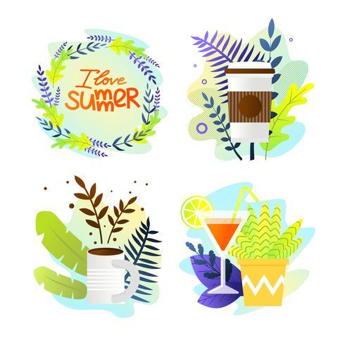 Ställ in vykort Skriftligt älskar jag sommar vektor