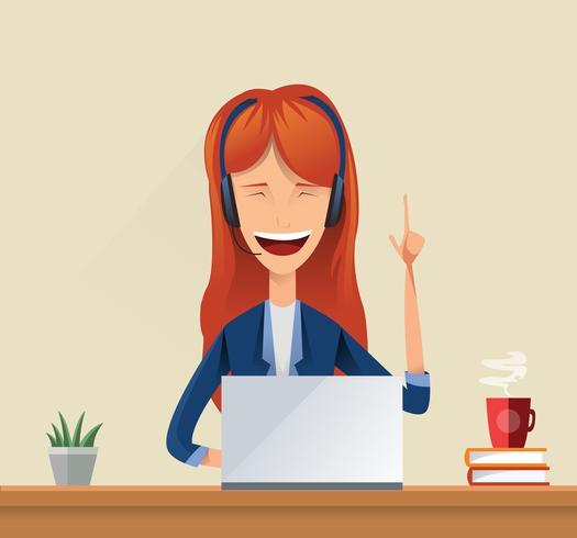 Kundendienst-Dame, die im Kundenkontaktcenter-Büro arbeitet vektor