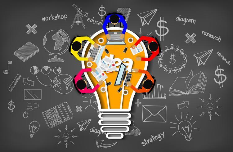 Affärsmöte med kreativitetsinspiration som planerar lampaikonbegrepp vektor