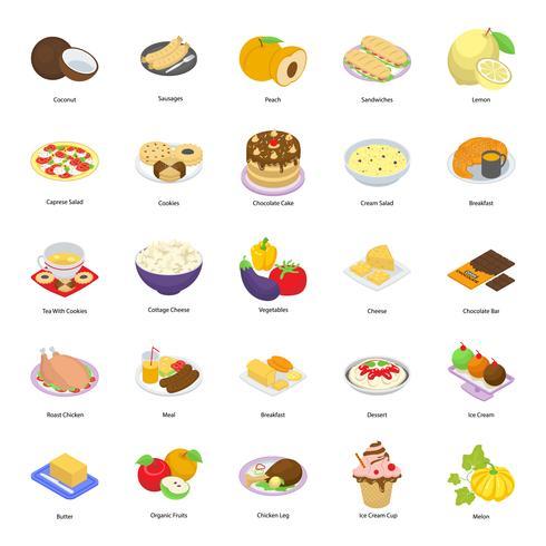 Junk-Food, Obst und andere Lebensmittel-Icon-Set vektor