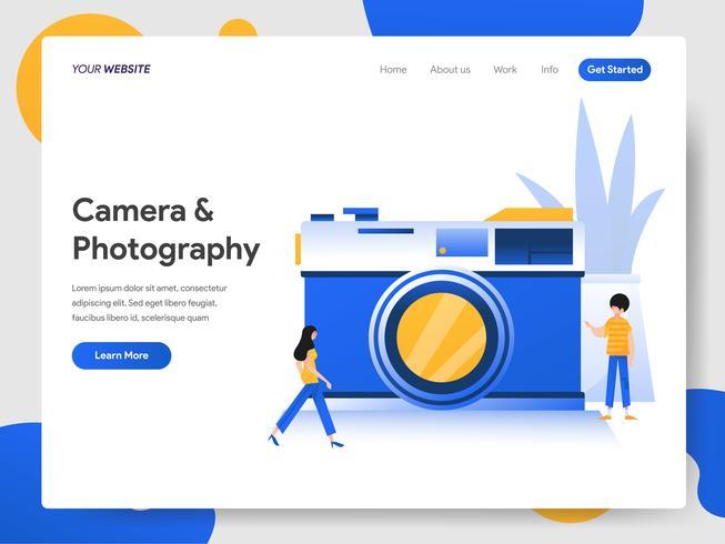 Landing Page Template von Kamera und Fotografie Illustration Konzept vektor