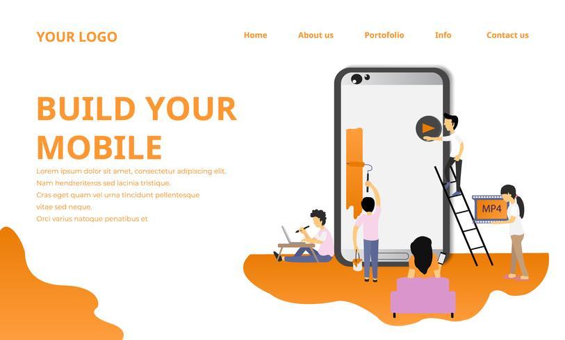 Wir erstellen Apps und mobile Websites Landingpage vektor