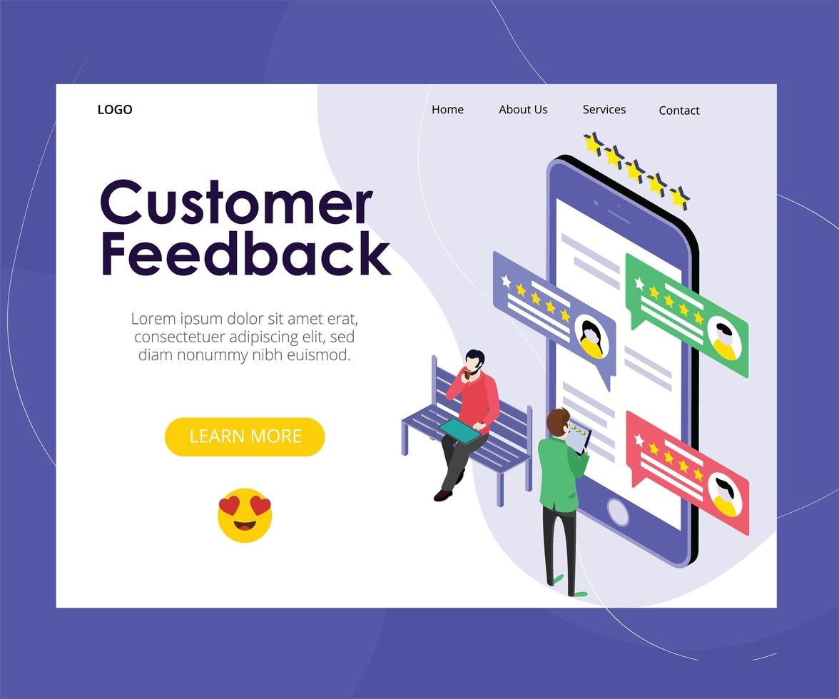 Kundenfeedback-Webseite vektor