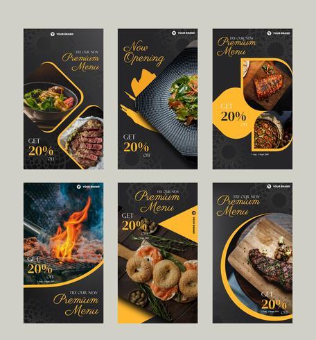 Kulinarisches Social Media-Postpaket vektor
