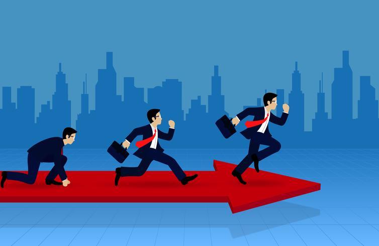Konkurrierender Betrieb des Geschäftsmannes auf dem Pfeil vektor