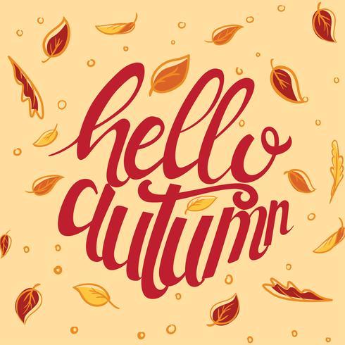 Hallo Herbst benutzerdefinierte Typografie vektor