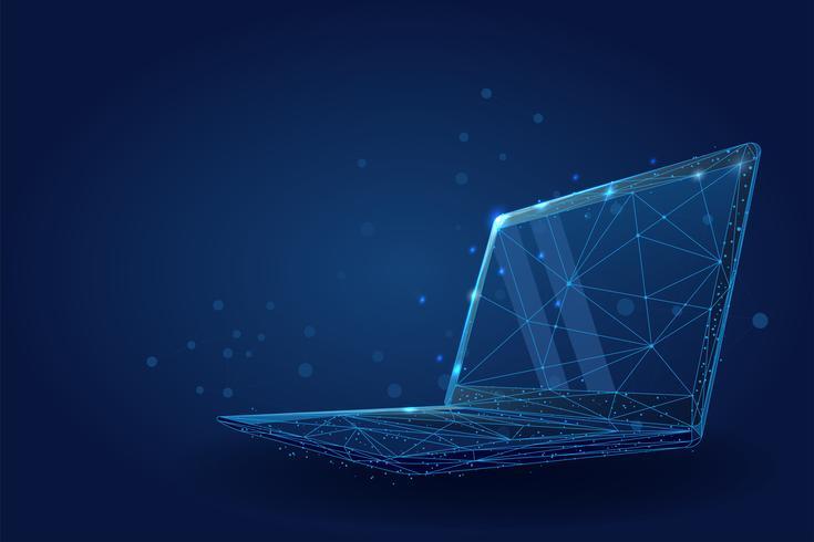 Niedriger Poly-Wireframe-Laptop. vektor
