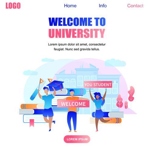 Välkommen till University Banner med glada studenter vektor