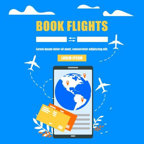 Buchung von Flugtickets Online-Website vektor