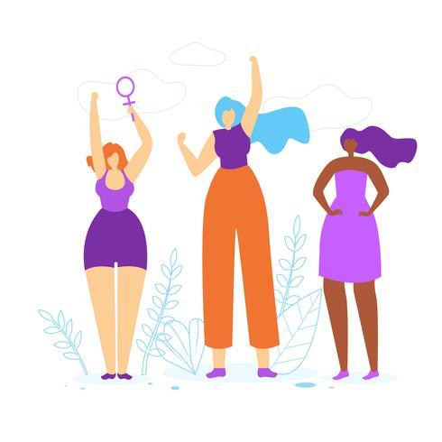Unga flickor med händerna upp vektor