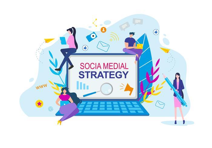 Sociala medier strategi tecknade människor med anteckningsbok vektor
