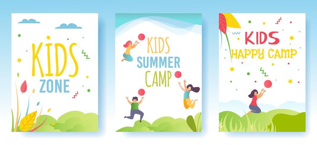 Print Flyer Medienkarten Social Stories Set Camp vektor