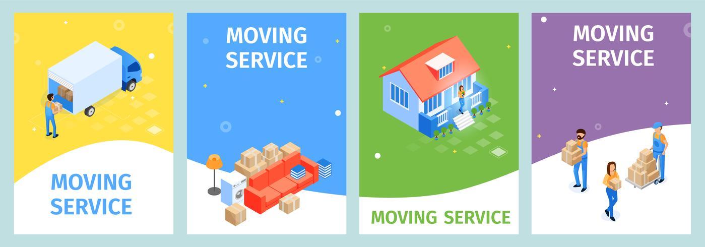 Stellen Sie den Banner Moving Service ein vektor