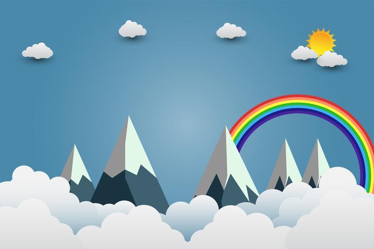 Berge mit Sonne und Wolken im Papierkunststil vektor