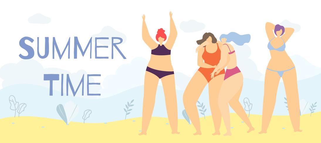 Sommartid Positiv Body Cartoon Woman Banner vektor