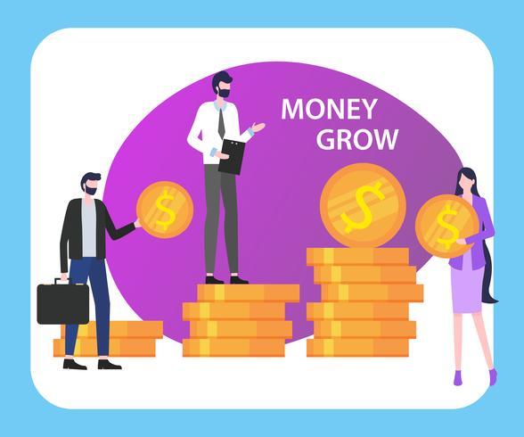 Geld wachsen Menschen Mann Frau mit Dollar Coin Stack vektor