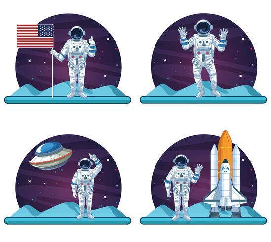 Astronaut och galaxuppsättning scenarier vektor